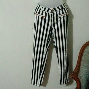 Love Fire Black & White Striped jeans
